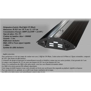 Rampe HQI 2x250W+2xT5 nèon bleu 54W+2 Spots noir 125cm