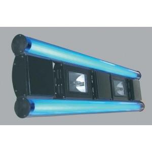 Rampe 180cm silversun hqi 3x150w + 2 x néon bleu 54w