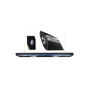 Rampe HQI 2x150W+2xT5nèon bleu 54W+3 Spots noir 150cm