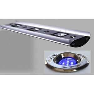 Rampe hqi 2x250w + 2xt5 néon bleu 54w + 2 spots à led real 125cm